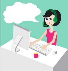 Technical support by phone woman vector image