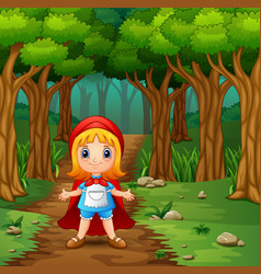 the girl hooded red in street forest vector image
