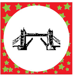 tower bridge in london uk black 8-bit vector image