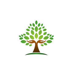 Tree hand logo concept wellness symbol icon design vector