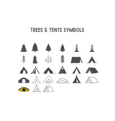 Trees and tent shapes elements for creatio vector