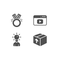 Video content honor and education icons package vector