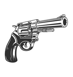 Vintage monochrome six shooter revolver concept vector