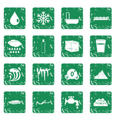Water icons set grunge vector