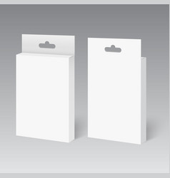 White product package box with hang slot vector