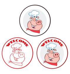 winking pig character circle banner collection vector image