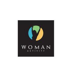 Woman body awakening wellness success health logo vector