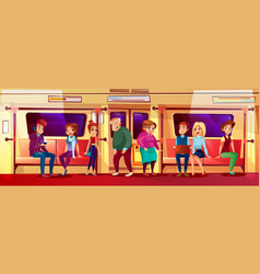 Young and old people in subway vector