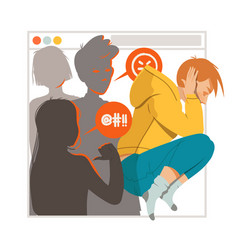 Young male as victim cyberbullying suffering vector
