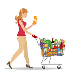 young woman pushing supermarket vector image