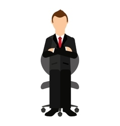 businessman sitting in a chair isolated icon vector image