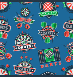darts tournament icons and badges seamless pattern vector image