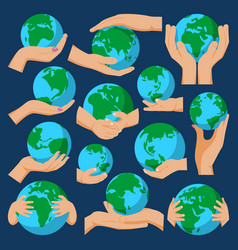 globe earth in holding hand icon vector image