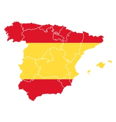 Map and flag of Spain vector image
