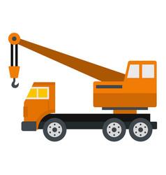 orange truck crane icon isolated vector image