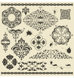 set of floral design elements and blots vector image