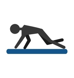 silhouette guy exercising fitness sport pad vector image