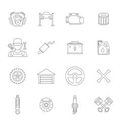Auto service line icons set vector image vector image