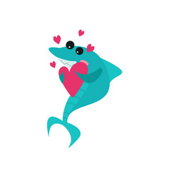 cute cheerful shark cartoon character holding pink vector image