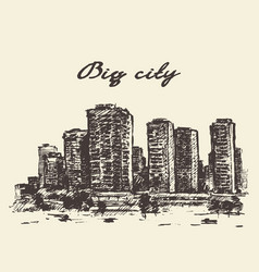 skyline skyscrapers big city concep drawn vector image