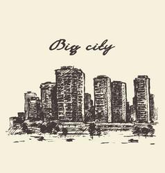 skyline skyscrapers big city concep drawn vector image vector image