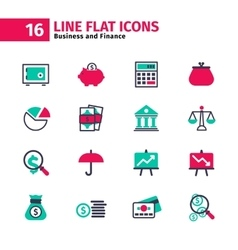 Business icon set in flat line style vector image vector image