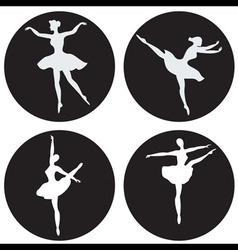 Dancing ballerina silhouettes vector image