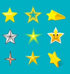 different style shape silhouette shiny star icons vector image vector image