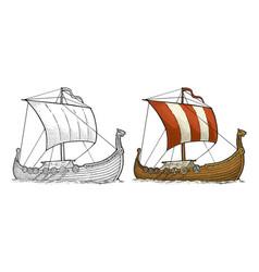 drakkar floating on the sea waves vintage color vector image
