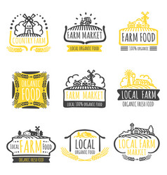 hand drawn farm market organic food labels set vector image