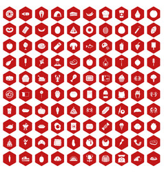 100 favorite food icons hexagon red vector image vector image