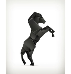Black paper horse origami vector image vector image