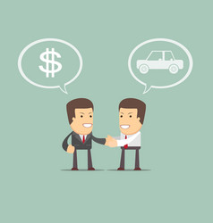 Car sales - auto dealer with new owner vector