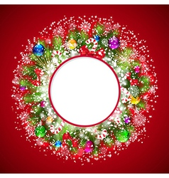 Christmas wreath with snow-covered branches of vector image vector image