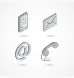 contact isometric icons 3d vector image vector image