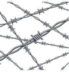 realistic 3d detailed barbed wire line background vector image vector image