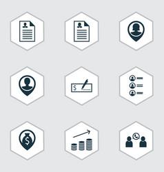 Set of 9 hr icons includes money navigation job vector