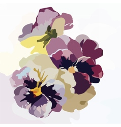 Vintage watercolor blooming flowers vector