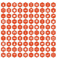 100 auto repair icons hexagon orange vector image