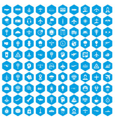 100 aviation icons set blue vector