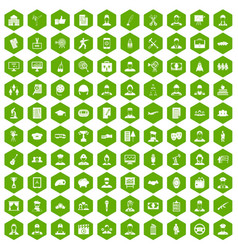 100 career icons hexagon green vector