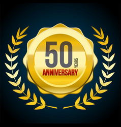 50 years anniversary gold and red badge logo vector image