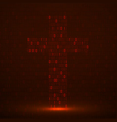 Abstract sign cross binary code with neon light vector