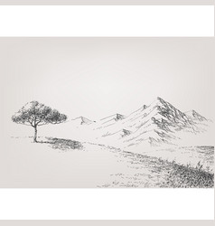 Alpine meadow hand drawing high hills and vector