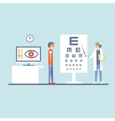 At Ophthalmologist in Flat vector image