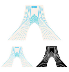 Azadi tower in front view vector