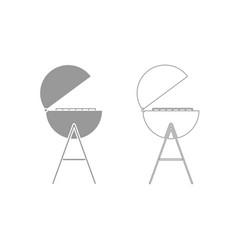 barbecue or grill grey set icon vector image