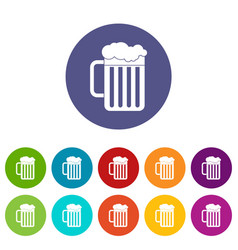 beer mug set icons vector image