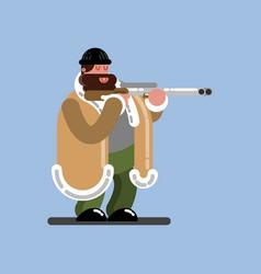 big hunter ready to shoot vector image