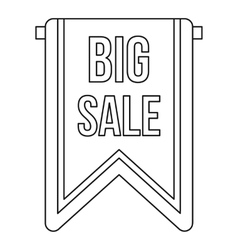 Big sale banner icon outline style vector image